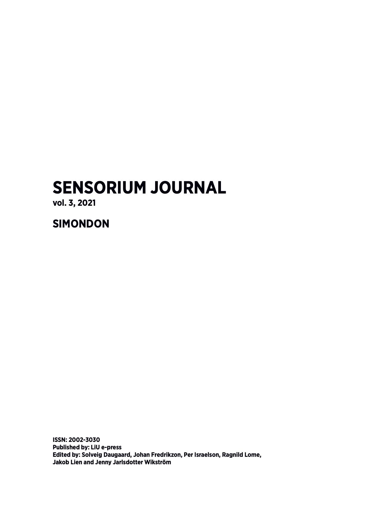 View Vol. 3 (2021): Sensorium Journal: Simondon